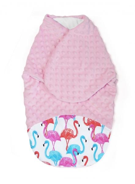 baby-nellys-zavinovacka-spacacek-s-minky-0-6m-plamenak-minky-ruzova-0-6-mesicu