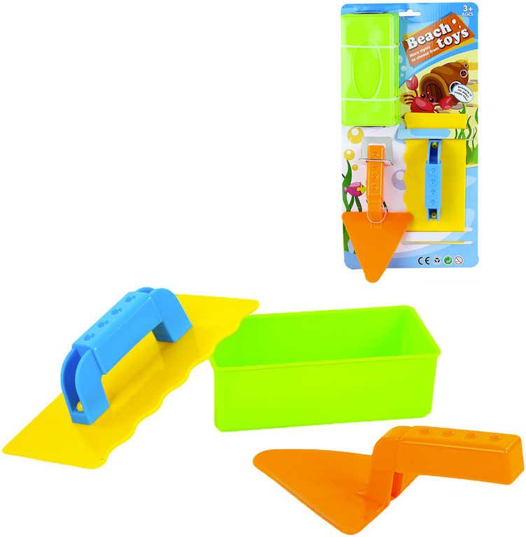 Malý zedník sada nářadí plastové na písek 3ks na kartě 3 barvy