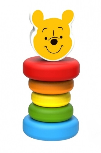 Dřevěná chrastítko Disney, Medvídek Pú, 5 x 5 x 12 cm