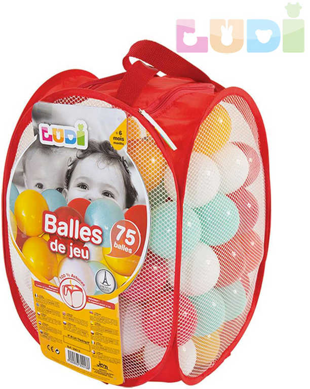 LUDI Baby míčky měkké plastové set 75ks červené 6,5cm v tašce pro miminko