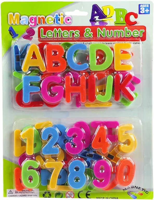 Čísla a písmenka barevná magnetická 4cm set v sáčku plast