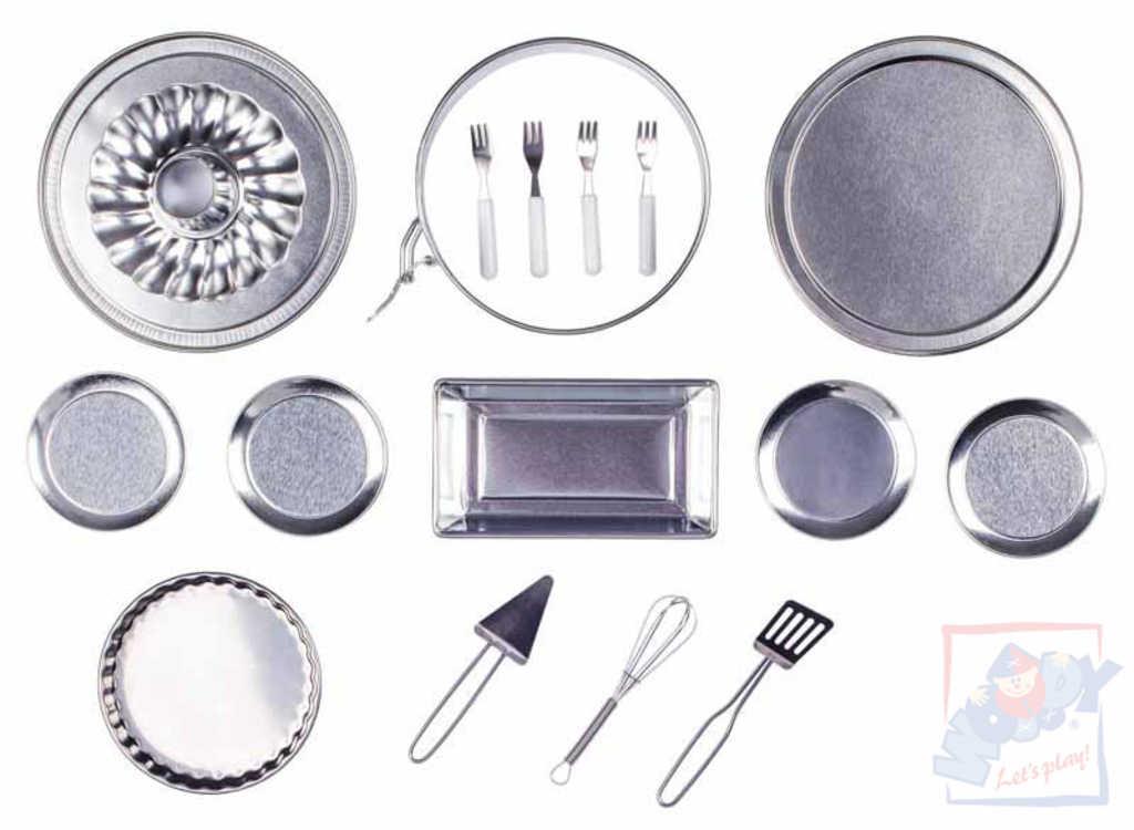 WOODY Dětský funkční set na pečení 16ks s bábovkou nerezové nádobí kov