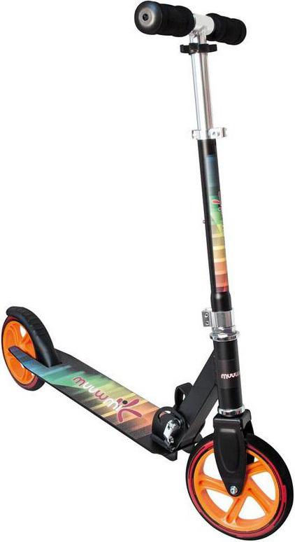 MUUWMI koloběžka Scooter dětská skládací hliníková oranžovočerná kov