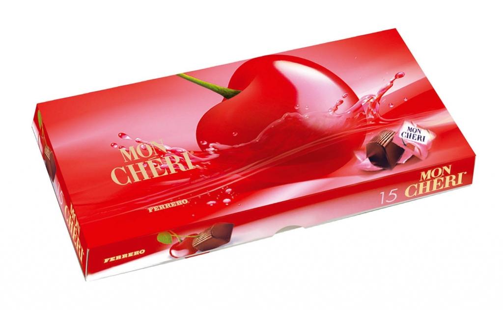 Ferrero Mon Chéri čokoládové bonbony formované s likérovou náplní a celou třešní uvnitř 157,5 g