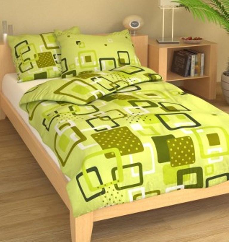 Povlečení francouzské bavlna 200x200, 70x90 Hlavolam zelený, Výběr zapínání: - zipový uzávěr
