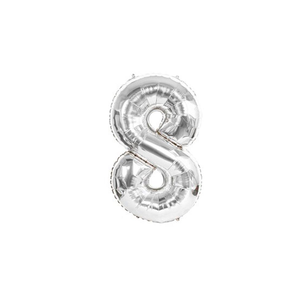 Nafukovací balónky čísla maxi stříbrné - 8