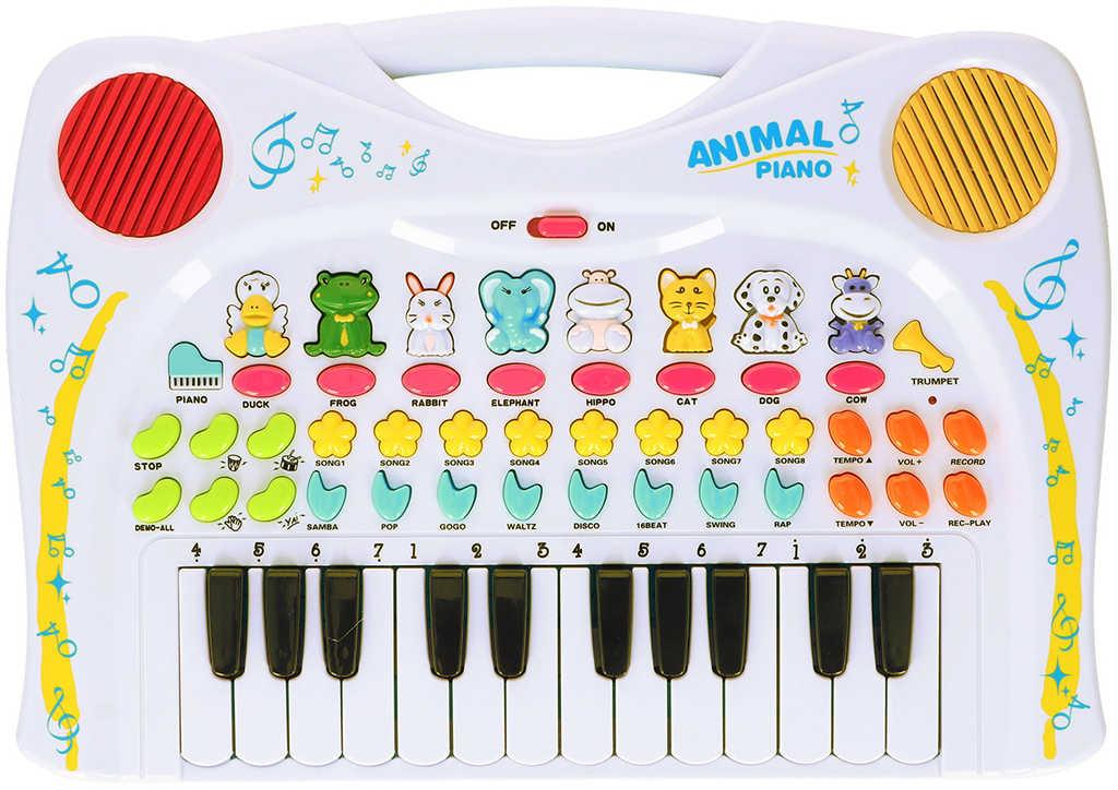 Pianko 38cm dětské klávesy se zvířecími zvuky s nahráváním REC na baterie