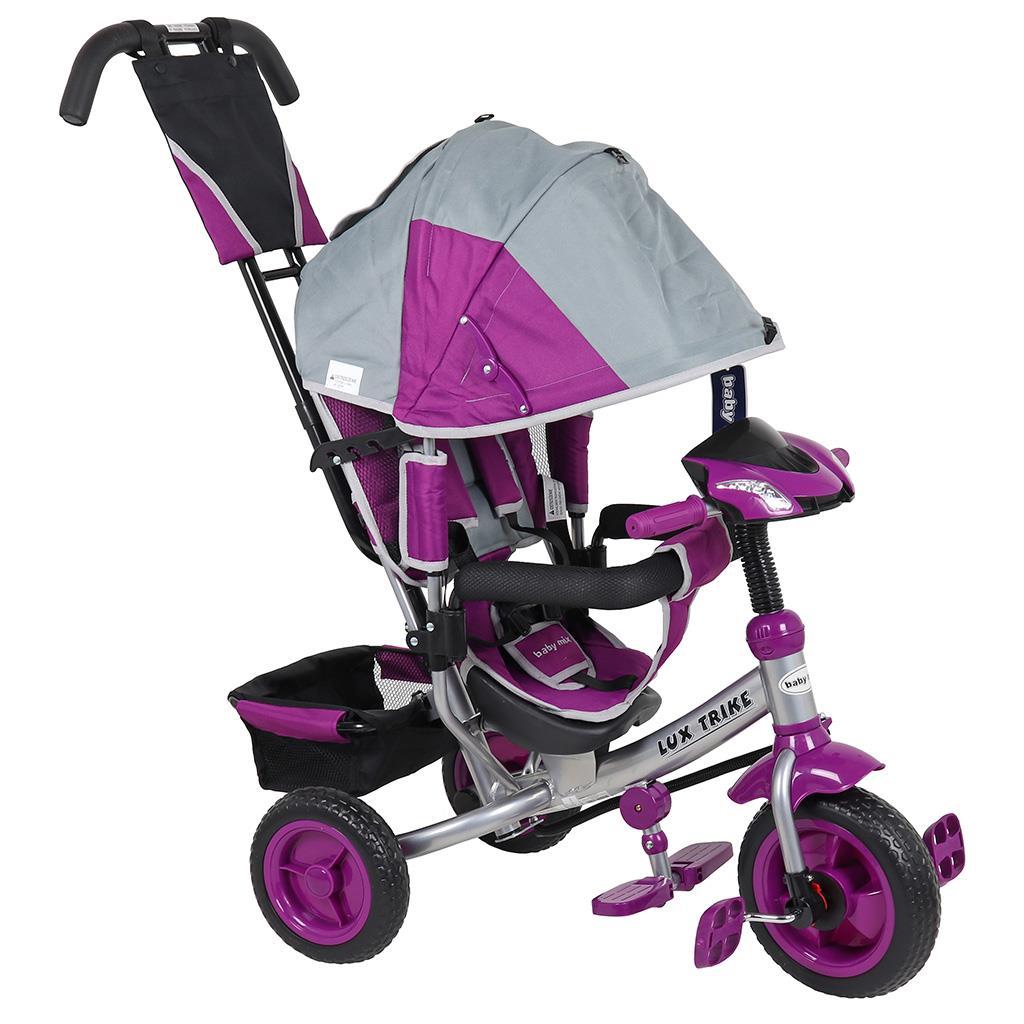 Dětská tříkolka s LED světly Baby Mix Lux Trike šedo-fialová - růžová