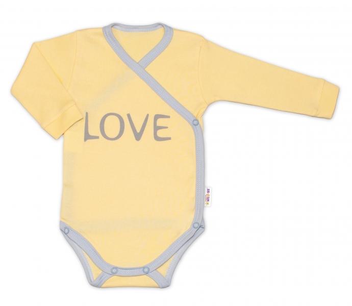 Baby Nellys Body dlouhý rukáv Love - zapínání bokem