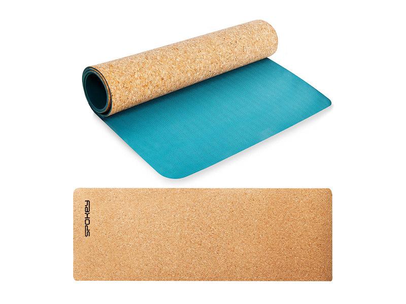 SAVASANA jóga podložka na cvičení korek-modra
