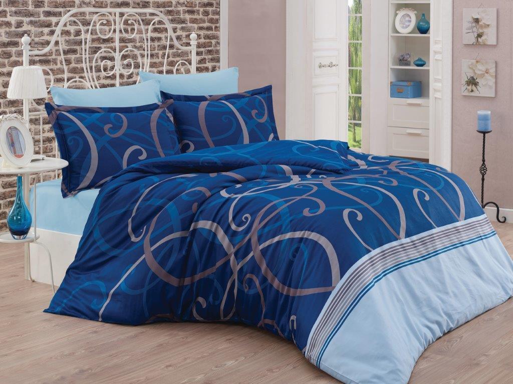 Saténový povlak na polštář Morano modré, Výběr rozměru: - 70x90