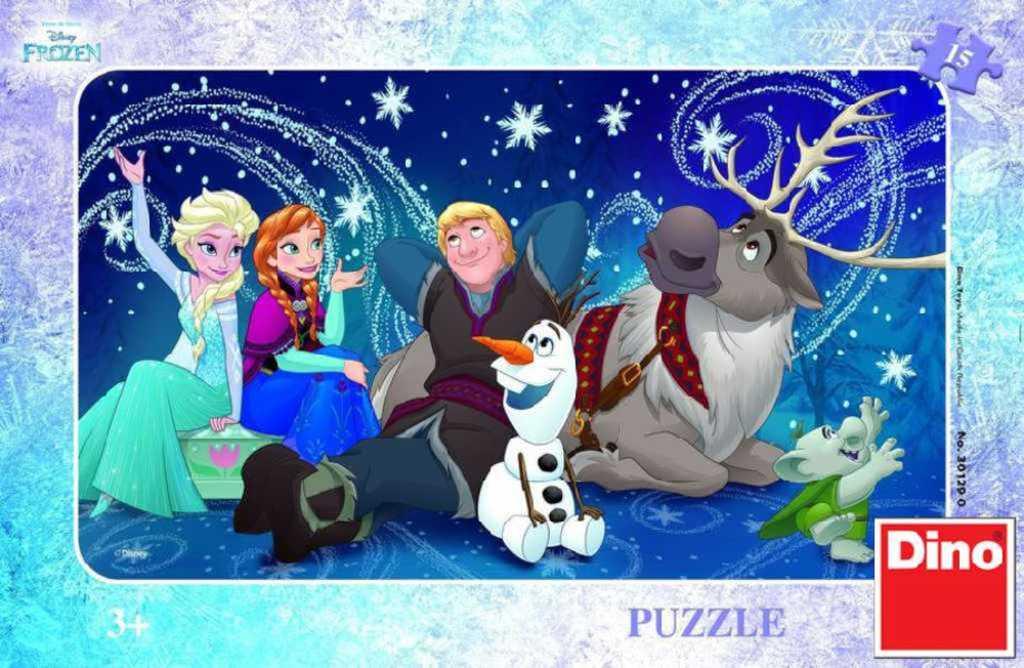 DINO Puzzle Sněhové vločky Frozen (Ledové Království) 15 dílků v krabici