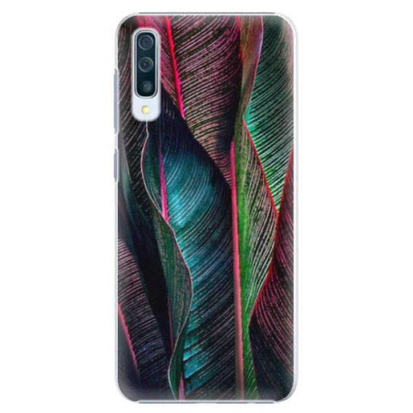 Plastové pouzdro iSaprio - Black Leaves - Samsung Galaxy A50