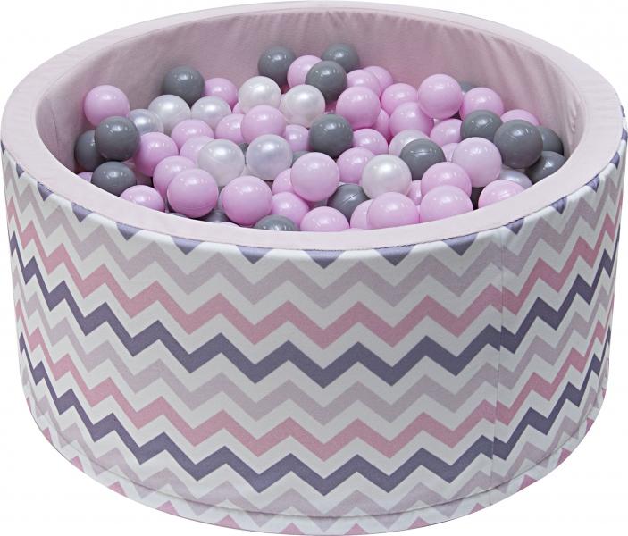 Bazén pro děti 90x40cm - zig zag růžový, šedá, béžová s balónky