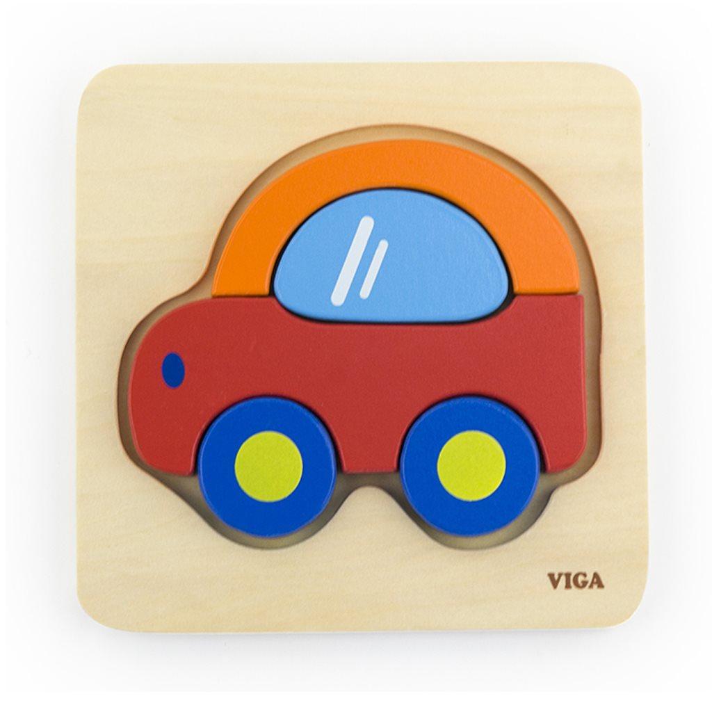 Dřevěné puzzle pro nejmenší Viga Auto - multicolor