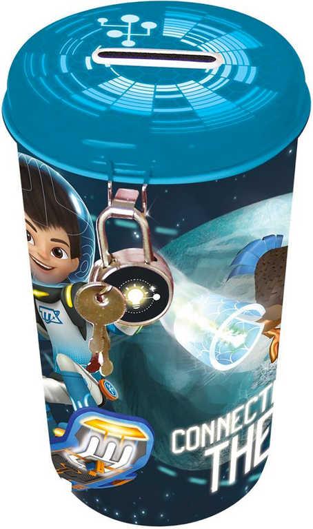 Pokladnička velká Disney Tomorrowland 14x8cm plechová oválná set s klíčky a zámkem