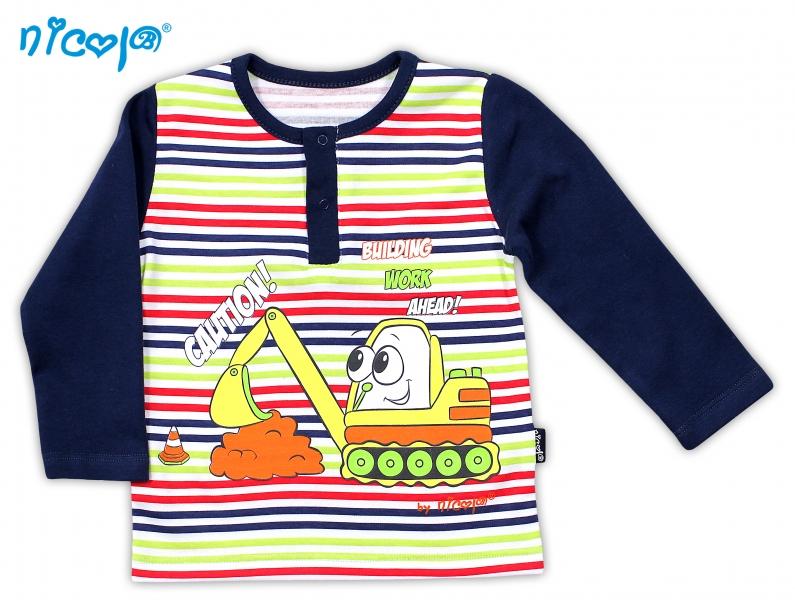 Bavlněné tričko NICOL BAGR dlouhý rukáv - tm. modré/barevný proužek - 74 (6-9m)