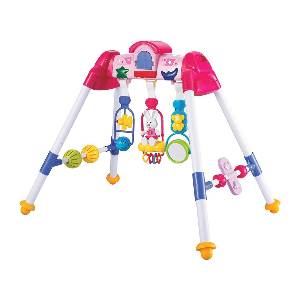 Dětská hrající edukační hrazdička BAYO premium pink - růžová