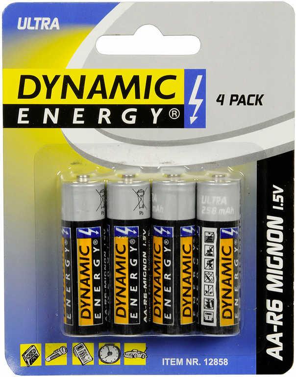 Baterie AA R6 Mignon Dynamic Energy alkalická 1,5V set 4ks na kartě