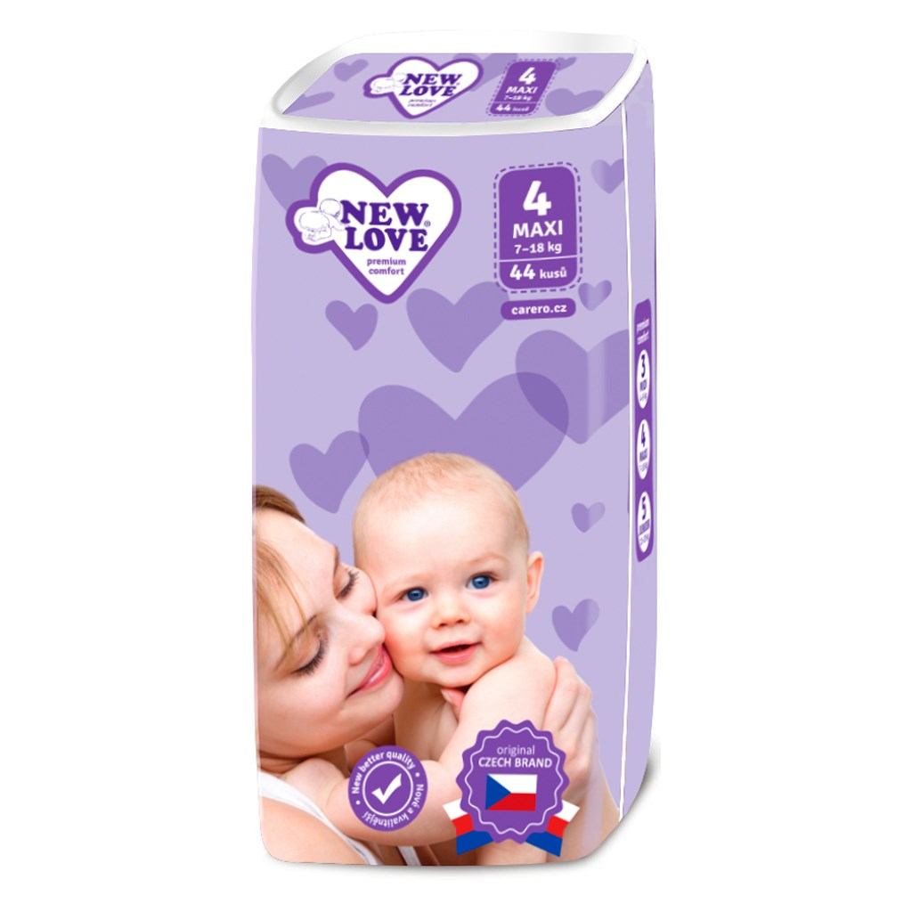 Dětské jednorázové pleny New Love Premium comfort 4 MAXI 7-18 kg 44 ks - bílá