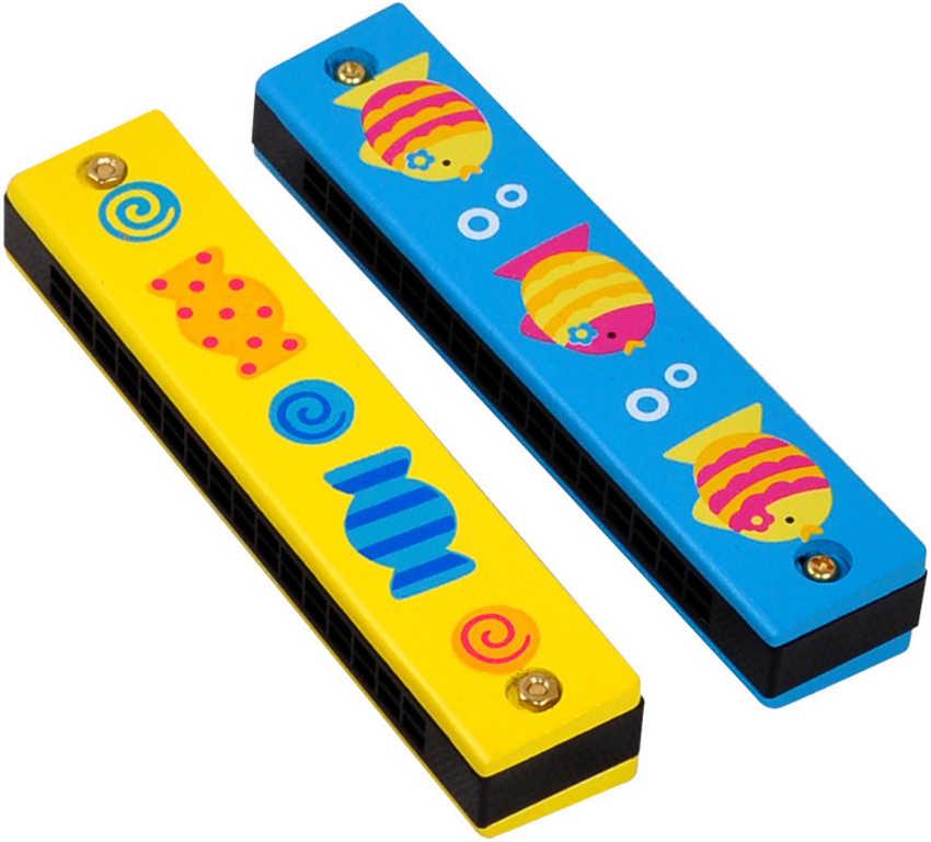 DŘEVO Harmonika dětská 13cm 2 barvy DŘEVĚNÉ HRAČKY