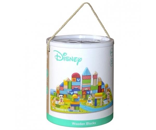 Dřevěné kostky Disney 92 ks s podložkou v kyblíku - Mickey Mouse