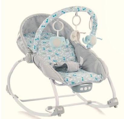 BABY MIX Lehátko pro kojence s vibrací a hudbou - Motýlci - šedé