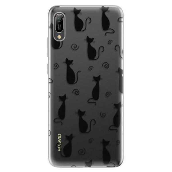 Odolné silikonové pouzdro iSaprio - Cat pattern 05 - black - Huawei Y6 2019
