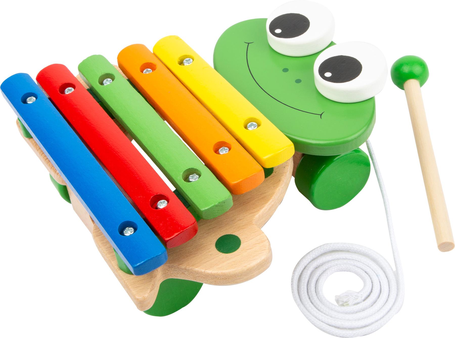 Small Foot Dětské dřevěné hudební nástroje Tahací Xylofon žába