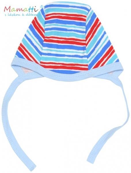 Čepička Mamatti - ZEBRA - sv. modrá/barevné proužky - 62 (2-3m)