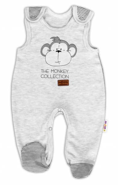 Kojenecké bavlněné dupačky Baby Nellys Monkey - sv. šedý