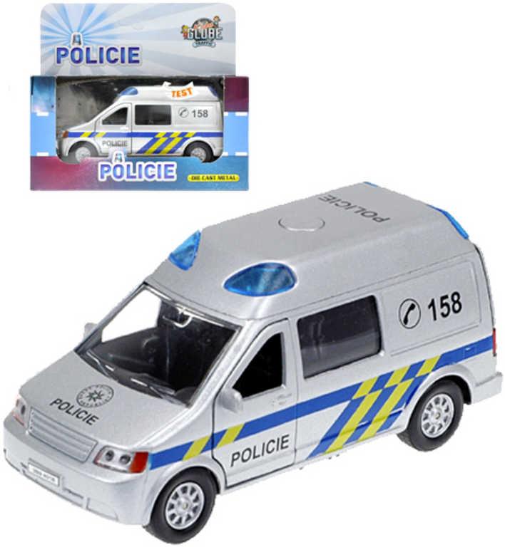 Auto policie 13cm kovové zpětný chod dodávka na baterie Světlo Zvuk v krabičce