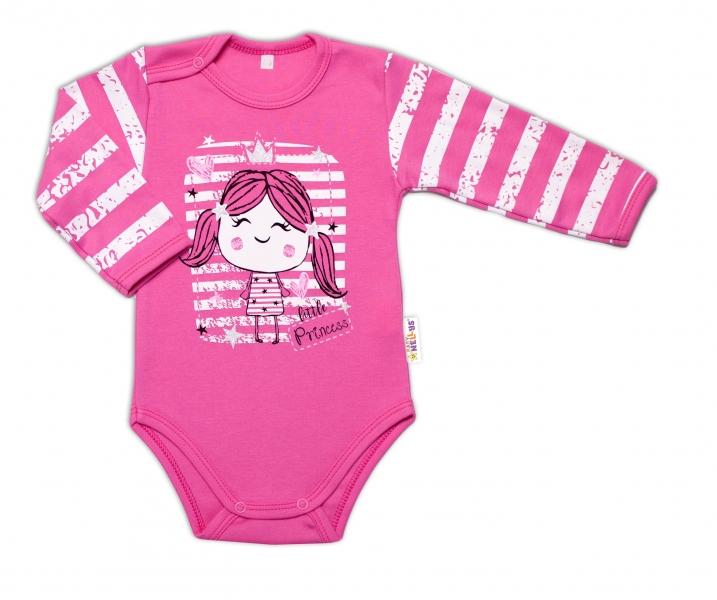 Baby Nellys Kojenecké body, dl. rukáv, Sweet Little Princess, růžová - 74 (6-9m)