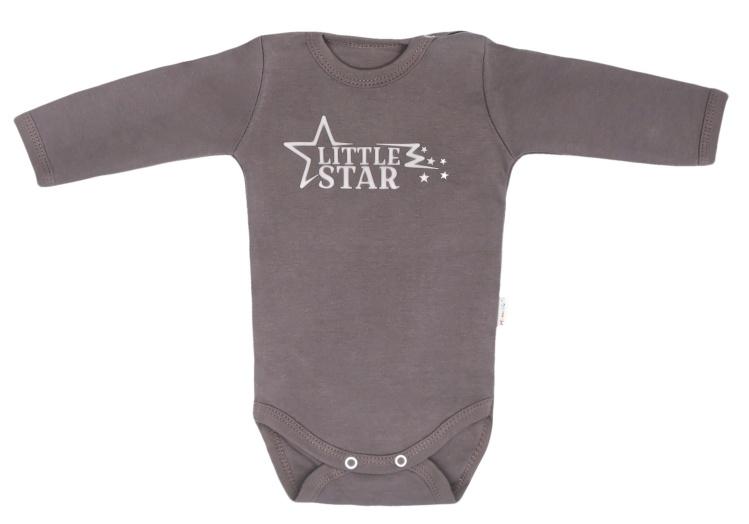 Mamatti Kojenecké body s dlouhým rukávem Star - šedé, vel. 74 - 74 (6-9m)