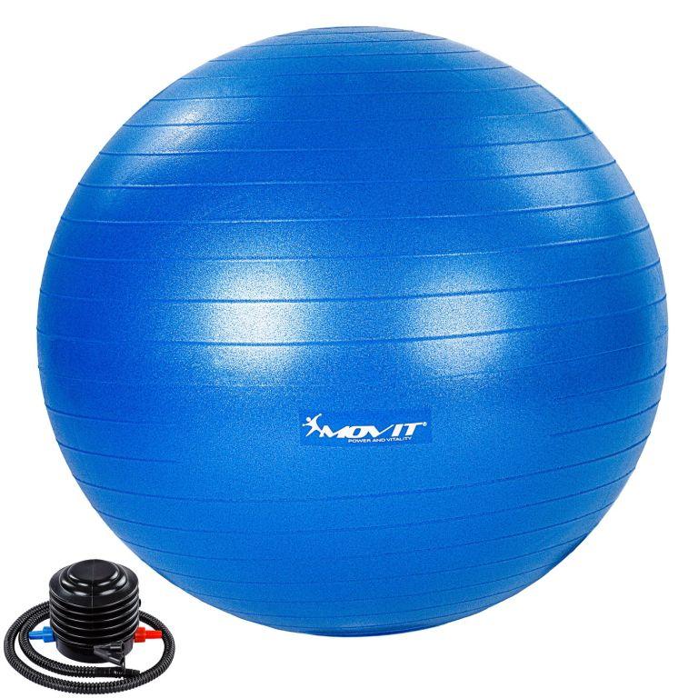MOVIT Gymnastický míč s nožní pumpou, 65 cm, modrý