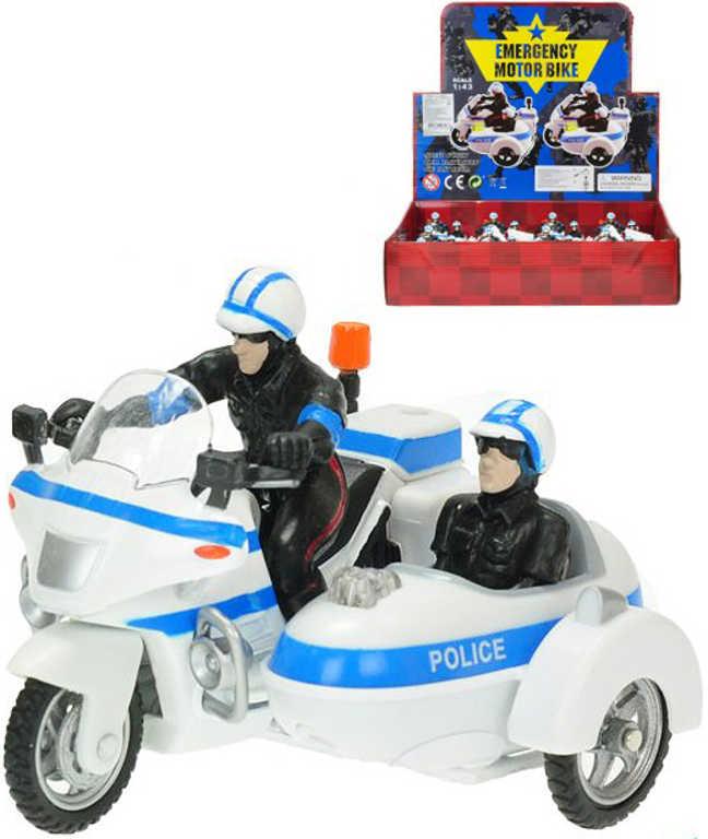 Motorka policejní sajdkára kovová 9cm policie na baterie Zvuk