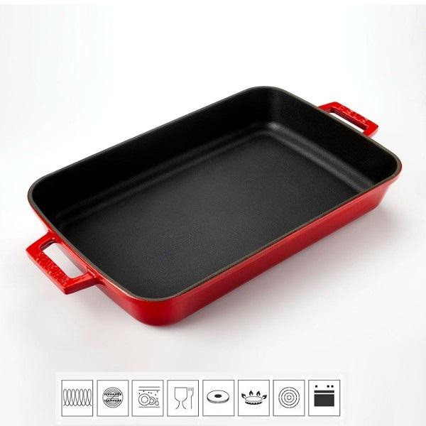 Litinový pekáč 22x30cm - červený