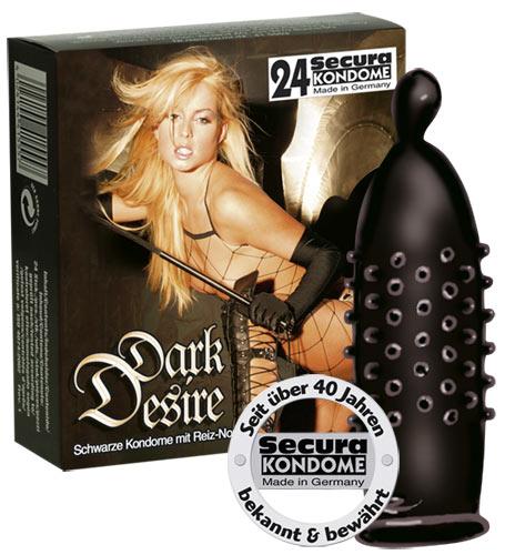 Černé kondomy s nopky Dark Desire 24 ks