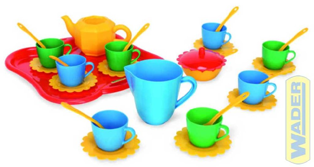 WADER Dětská sada nádobí set 1 kuchyňský párty tác s doplňky 30ks 22040 PLAST