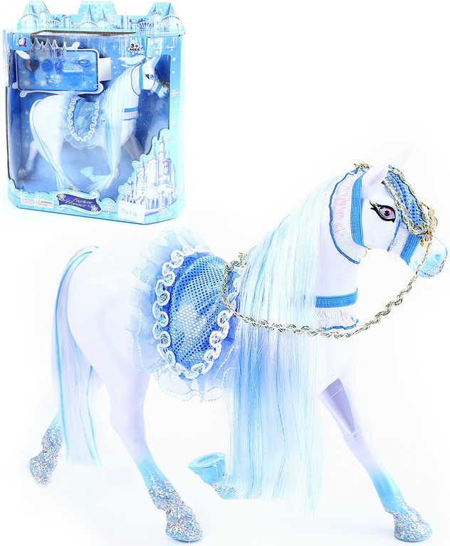Kůň bílý česací 20 cm zimní království plastový set s doplňky v krabičce