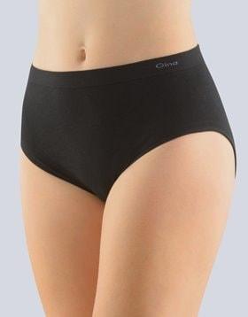 GINA dámské kalhotky klasické ve větších velikostech, větší velikosti, bezešvé, jednobarevné MicroBavlna 01000P - černá - XL/XXL