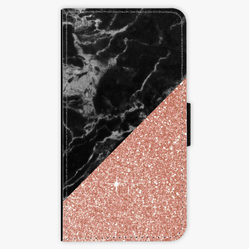 Flipové pouzdro iSaprio - Rose and Black Marble - Samsung Galaxy S6 Edge