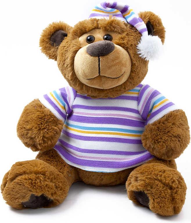 PLYŠ Medvídek v triku pohádkový 28cm vypráví 4 pohádky na baterie CZ Zvuk 3 barvy