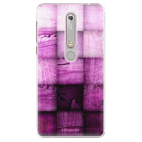Plastové pouzdro iSaprio - Purple Squares - Nokia 6.1