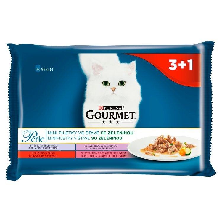 Perle mini filetky ve stave se zeleninou kapsička pro kočky 3+1 85 g