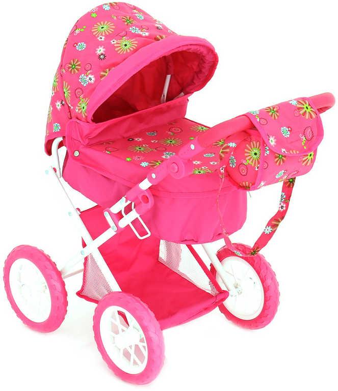 Kočárek pro panenku miminko 56x36x 64cm růžový s taškou na držadle