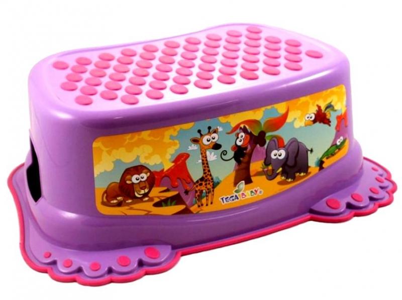 Tega Baby Stolička, schůdek s protiskluzovou funkcí - Safari -fialová
