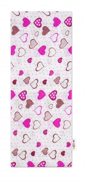 Baby Nellys Kvalitní bavlněná plenka - Tetra Premium, 70x80cm - Srdíčka růžové