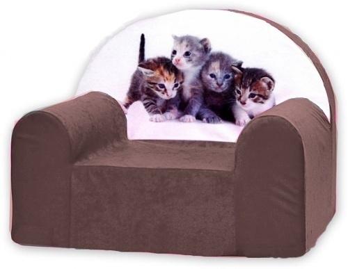 Dětské křesílko/pohovečka Nellys ® - Kočičky v hnědé