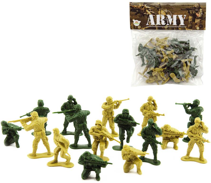 Vojáci figurka akční plastová 16ks se zbraní dvoubarevný set v sáčku CZ